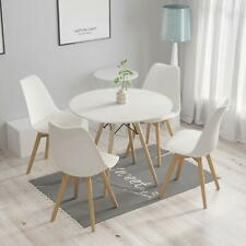80cm Round Dining Table White And 4 Padded Tulip Chairs Grey Set Kitchen Cafe IE