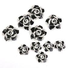10x 3D Alloy Bling Crystal Camellia DIY For Cell Phone iPhone Case Deco Kit
