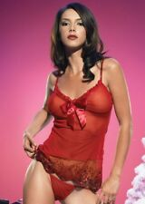 Red Sequinned Babydoll Chemise Cami Top G-String Knicker Set Leg Avenue S 8 10