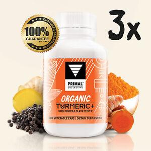3x Bottles Organic Turmeric+ with Ginger & Black Pepper Capsules, Vegan.