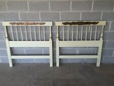 VINTAGE HITCHCOCK PAIR OF HARVEST PAINT DECORATED SINGLE/TWIN HEADBOARDS
