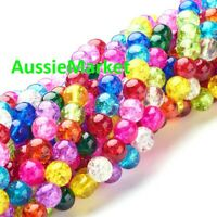 50 x Glass loose beads crackled crackle multi coloured round 8mm jewellery craft