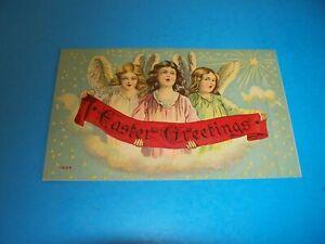 Antique Postcard EASTER  GREETINGS Angels singing banner # 7204