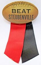 1930's BEAT STEUBENVILLE Ohio High School figural football pinback button +