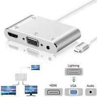 Lightning to HDMI VGA Digital AV Adapter Cable 1080P For iPhone X 8 7 6S 6 Plus