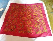 ASCHER Red Silk Scarf Floral vintage fashion 34 x 34 inches