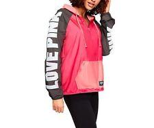 Victorias Secret PINK Anorak Jacket Windbreaker Half Zip Neon Red Coral XS S