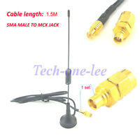 2pcs 1090Mhz Antenna MCX Male ADS-B Modem Router +MCX Female to SMA male Adapter
