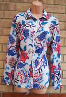 G21 WHITE BLUE PINK FLORAL FOLK BUTTONED LONG SLEEVE T SHIRT BLOUSE TOP 12 M
