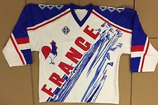 Olympic French Sublimated Jersey White: Jr Size L, and Sr sizes: M, L, XL, XXL