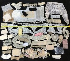 Vtg LACE LOT, Antique Victorian Floral Trim Fabric Craft Wedding Sewing Collar