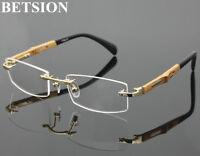 Titanium Rimless Myopia NEARSIGHTED Distance Wooden GLASSES Minus Eyeglass Frame