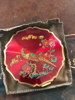 Vintage Stratton BIRDS OF PARADISE Red Enameled Vintage Powder Compact 1950s