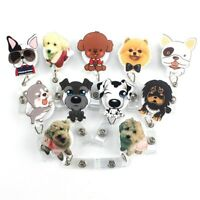1pc Cute Dog Retractable Badge Reel Pull Key Holder ID Name Card Key Ring 2019