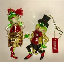 Mr & Mrs Holiday Gala Glass Green Frogs Christmas Tree Ornaments Toad Pair