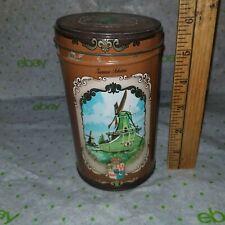 "Vintage DUTCH COOKIE Tin ECHTE ZAANSCHE KOEKEN - 5 3/4"" x 3 3/8"" diam -FreeSHIP"