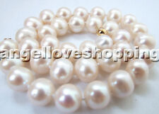 AAA HUGE white genuined nature freshwater pearl necklace 12-13mm USA BY EUB