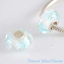 Blue Daisy Flower Murano Glass .925 Sterling Silver European Bead Charm Euro