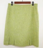TALBOTS Women's 14 - Lime Green Tweed Knit Wool Straight Skirt - Knee Length