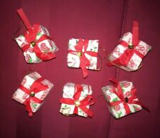 New Set 6 Ornaments Decorations Christmas Present Gift Box Candy Cane Strawberry