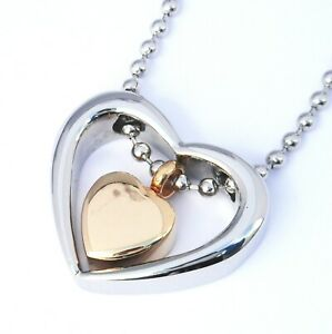 """Cremation Ashes Jewellery Keepsake Necklace Urn """"Gold & Silver Heart"""""""