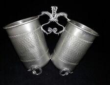 Vintage 95% Pewter - Zinn Peltro Etain Rare Joined Cup Set