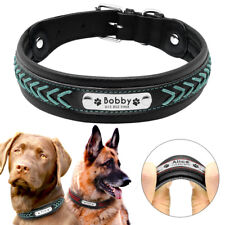 Braided Personalized Dog Collar Leather Pet Engraved ID Nameplate Blue Red