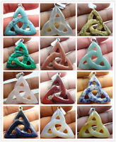Beautiful mix agate carved Hollow out Triangle PENDANT GEM/GEMSTONE LOOSE BEADS