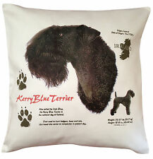 More details for kerry blue terrier history breed of dog cotton cushion cover - perfect gift