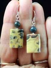 V.PRETTY CREAM GRAY CRAZY LACE AGATE & TIGER EYE STERLING SILVER EARRINGS