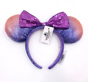 Bow Purple Sequins Minnie Ears Tokyo Disney Resort Rare Mickey Mouse Headband