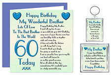60th Brother Happy Birthday Gift Set - Card, Keyring & Magnet 60 Today Lots Love