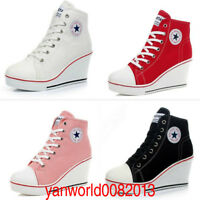 Women Casual High Top Canvas Wedge Shoes High Heel Lace Up Platform Sneakers