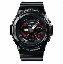 SKMEI s007 Mens Sports Analog Digital Watch Black Strap with Black and Red Dial