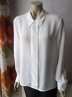 Gabrielle Damen Bluse elegant seidig Stickerei Gr. 42 weiß schwarz Polyester