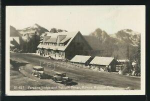 WA Mount Rainier National Park RPPC 1920's PARADISE LODGE & Tatoosh Range 31-627