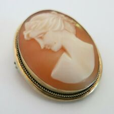 Lady Shell Cameo Left Facing Brooch Pendant 800 Silver Gold Vermeil [5515]