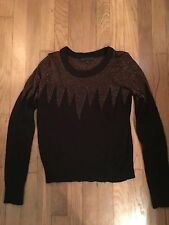lucca couture~Gold Metallic~Black~Sweater~Partially Sheer~Size Large~Zig Zag