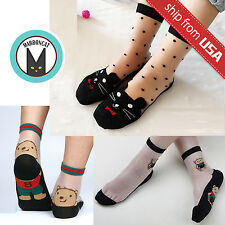 Lot 3x Cat Teddy Bear Women Cute Ultra thin Transparent Crystal Lace Short Socks