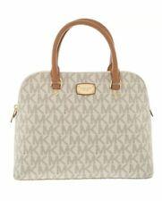MICHAEL KORS CINDY Vanilla/Acorn Leather Dome Satchel Handbag RRP £360