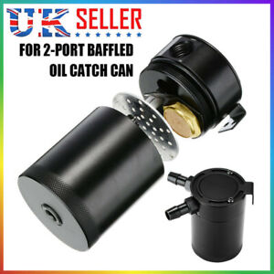 Universal Compact Baffled 2-Port Aluminum Oil Catch Can Tank Reservoir Kettle UK