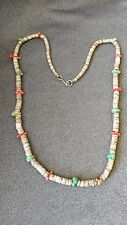 Vintage Navajo Natural Blue Turquoise Coral & Heishi Bead Necklace