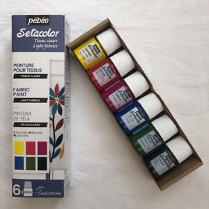 NEW Pebeo Setacolor Light Initiation Set of 6 colours of fabric paint RRP £9.95