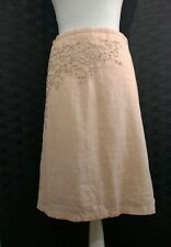 French Connection Peach Embellished A Line Knee Length Skirt 10