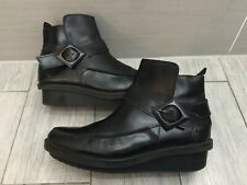 LADIES BLACK LEATHER FLY LONDON WEDGE ANKLE BOOTS, UK 7