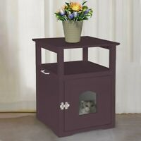 Pet Cat Hidden Litter Box Nightstand End Table Furniture Home Furniture Table US
