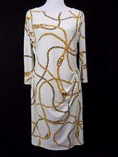 I54 New Women's Lauren Ralph Lauren LRL White Chain Stretchy Dress 14 NWT