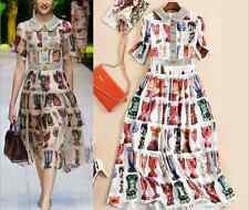 High-end Occident runway women's doll neck aristocratic makings print dress SML