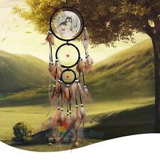Large Oil Painting Wolf Dream Catcher Feather Bead Hanging Home Car Decor #A