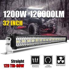 32inch 1200W LED Light Bar Spot Flood Combo Off Road SUV ATV Marine Pickup 34''